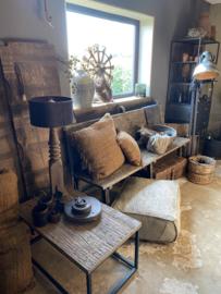 Stoere vergrijsd houten bank eettafelbank eetkamerbank hout zwart black lounge 180 x 55 x 100 cm