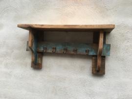 Oud gekleurd sloophouten Wandrek wandconsole wandplank wandkapstok wandkapstokje rek schap kapstok hout houten wandhaken landelijk vintage industrieel urban