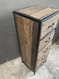 Stoere industriele landelijke ladekast ladenkast kast kastje 110 X 40 x 38 cm landelijk metaal hout