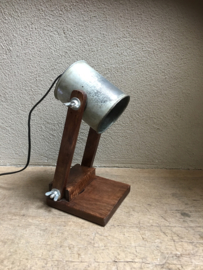 Vintage industriële lamp wandlamp bedlamp bedlampje tafellamp Burolamp industrieel bureaulamp landelijk industrieel hout metaal zink zinken