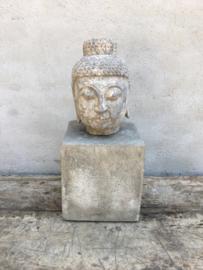 Zwaar massief hardsteen buddha boeddha boedha hoofd beel tuinbeeld hardsteen