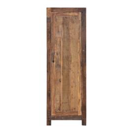 Oud houten kast klerenkast 1 deurs Milano kleerkast kastje met legplanken 200 x 66 x 51cm oud hout 1 deurs keukenkast boekenkast servieskast landelijk industrieel
