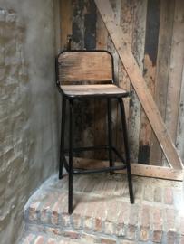 Industriele landelijke kruk barkruk met voetsteun 75 cm barhoogte hoog stoer industrieel vintage metaal grijs bruin