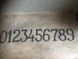 Bruine gietijzeren cijfers nummers huisnummers 1234567890 letters alfabet ABCDEFGHIJKLMNOPQRSTUVWXYZ &....en huisnummer industrieel landelijk bruin roestbruin