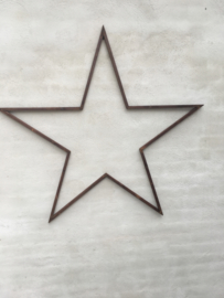 Grote metalen ster industrieel landelijk stoer 118 cm urban wanddecoratie wandornament roest roestbruin
