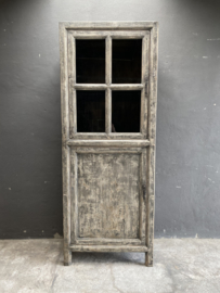 Mooie grote hoge kast met glas servieskast 225 x 78 x 50 cm vitrinekast keukenkast vergrijsd hout landelijk stoer industrieel