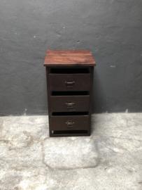 Metalen ladekast kastje met 3 metalen lades landelijk industrieel vintage stoer retro urban houten bovenblad
