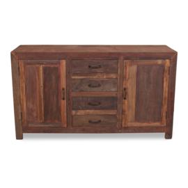 Stoer oud hout vergrijsd houten dressoir kast tv audio meubel 160 x 50 x 90 cm televisiekast kast sidetable landelijk vergrijsd oud massief  Milano