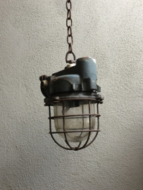 Originele oude scheepslamp fabriekslamp plafondlamp wandlamp grote spot  hanglamp industrieel vintage landelijk grijs Legergroen grijsgroen