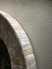Grote ronde vergrijsd whitewash houten spiegel landelijk 80 cm stoer robuust vergrijsde hout rond