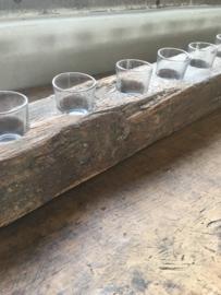 Stoer oud houten kandelaar theelicht theelichtjes biels stronk 50 cm 5 glaasjes hout grof nerf landelijk industrieel