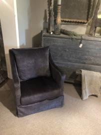 Prachtige antraciet donkergrijs velours bijzetfauteuil fauteuil stoel landelijk