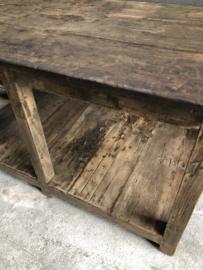 Gave grote oude hardhouten werkbank corner  werktafel keukenblok toonbank keukeneiland stoer robuust landelijk industrieel vintage 155 x 91 x H85 cm
