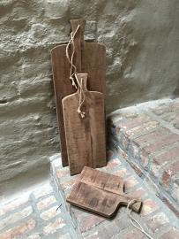 Stoere oude houten broodplank met jute touw 50 cm kaasplank snijplank landelijk