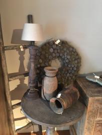 Stoere vergrijsd mat zwart antraciet zwartbruine houten balusterlamp stoer industrieel ballusterlamp tafellamp 50 cm tafellamp landelijk stoer robuust