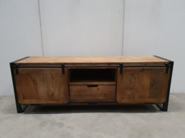 Industriële kast schuifdeur 160 x 44 x H56 cm hout metaal houten metalen televisiekast televisiemeubel tvkast dressoir landelijk industrieel