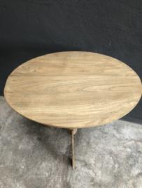 Ovaal houten wijntafel wijntafeltje bijzettafel bijzettafeltje landelijk 60 x 42 cm