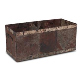 Stoere metalen bak bakken 71 x 33 x 33 cm recyclen metaal stoer landelijk industrieel vintage urban