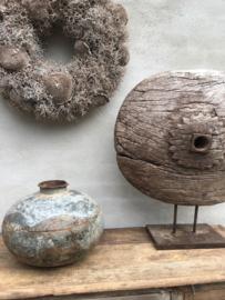 Oude zinken ketel pot waterkruik vaas landelijk industrieel vintage grijs