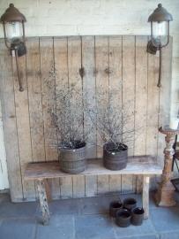 Stoere metalen bak pot landelijk industrieel stoer metaal Brocant bruin oude maatbeker