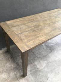 Vergrijsd houten eettafel teakhout teakhouten tafel eettafel landelijk stoer 200 x 90 x H79 cm stoer