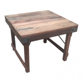 Stoer oud houten klaptafel salontafel bijzettafel vierkant 60 x 60 cm klaptafel kindertafel kindertafeltje markttafel tafel tafeltje