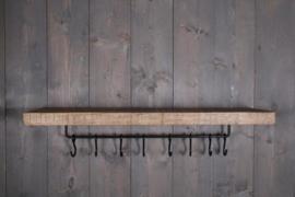 Houten wandrek wandplank wandkapstok met metalen stang & haakjes landelijk stoer industrieel 100 x 26 cm