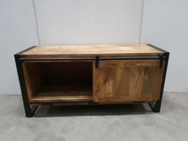 Houten televisiekast tvmeubel schuifdeur sideboard sidetable kast hout houten metaal metalen dressoir landelijk industrieel vintage
