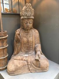 MEGA groot houten buddha beeld boeddha 120 cm  boedha landelijk stoer vergrijsd doorleefd