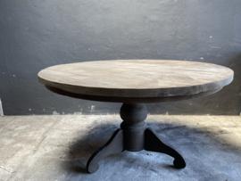 Grote oud vergrijsd houten tafel eettafel bolpoot eetkamertafel rond 140 cm bijzettafel wijntafel wijntafeltje landelijk stoer