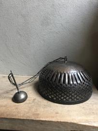 Stoere industriele hanglamp lamp korf stallamp 55 cm korflamp fabriekslamp industrieel zwart bruin metaal metalen landelijk zink staal metaal grijs