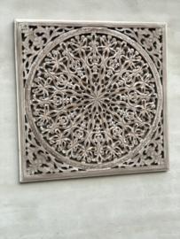 Stoer landelijk oud houten wandpaneel light grey grijs grijze wandornament wanddecoratie 90 x 90 cm hout panelen luiken