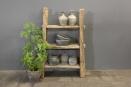 Grote stoere oud houten kast schap 146 x 93 cm rek stoer boerenkast robuust boekenkast keukenkast landelijk industrieel