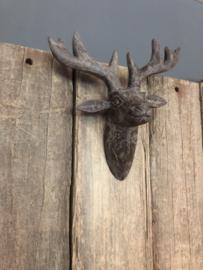 Houten grijs hert gewei wand grijze schedel hout wanddecoratie wandornament muur landelijk stoer brocant vintage