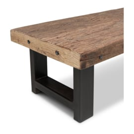 Stoere houten salontafel teakhouten teakhout houten blad 120 x 60 cm ijzeren onderstel landelijk stoer industrieel