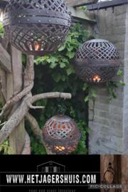Set van  3 metalen bollen ballen landelijk kandelaar windlicht stoer industrieel