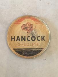 Oud rond Metalen reclame platen plaat reclamebord Hancock gasoline vintage retro industrieel