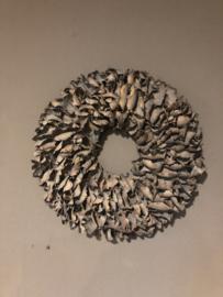 Vergrijsde krans 55 cm vergrijsd grijs Palm landelijk sober stoer mat
