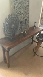 Oude landelijke industriële tafel Sidetable wandmeubel klaptafel tuintafel 170 x 40 x 80 cm buro bureau klaptafel werkbank werktafel oud vintage stoer