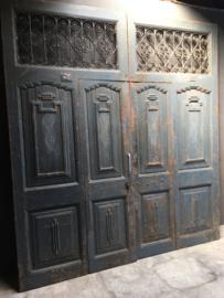 Prachtige grote oude houten wand paneel deuren kozijn poort deur kamerscherm decoratie 244,5 x 223 cm stoer landelijk industrieel oud old grijs blauw grijsblauw