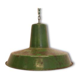 Gave vintage oude metalen hanglamp groen groene lamp stoer industrieel landelijk