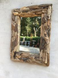 Grote vergrijsd houten spiegel drijfhout landelijk driftwood 100 x 80 cm