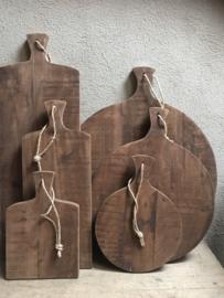 Grote ronde houten broodplank snijplank kaasplank landelijke stijl rond 38 cm