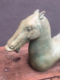 Metalen paard horse pferd metaal turquoise groenblauw beeld