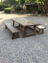 Zware hardhouten bank eettafelbank 220 cm landelijk vintage industrieel urban tuinbank boerenbank bankje