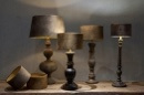 Stoere zwartbruine lamp balusterlamp inclusief velours lampenkap hoogte 64 cm stoer landelijk industrieel vintage