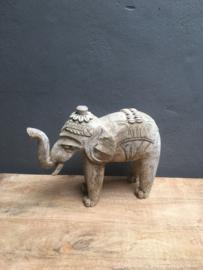 Houten olifant beige grijs hout schelpjes beeld beeldje groot