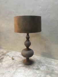 Prachtige shabby smoked lamp tafellamp schemerlamp inclusief kap zwart grijs bruin landelijk stoer
