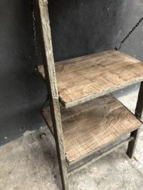 Stoer degelijk rek schap kast Wandrek metaal hout planken legplanken landelijk stoer industrieel beige