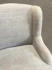Grijs linnen fauteuil stoel stoeltje landelijk stoer sober